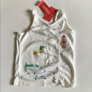 Girls Gymboree white tank top size 5 NEW NWT